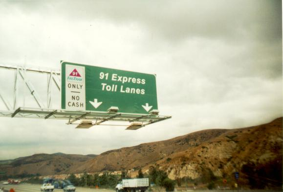 Picture of Westbound SR-91 Express lanes Toll Entry, Orange County, CA